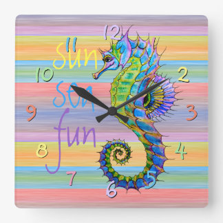 Cute Bright Sunset Colors Artsy Seahorse Square Wall Clock