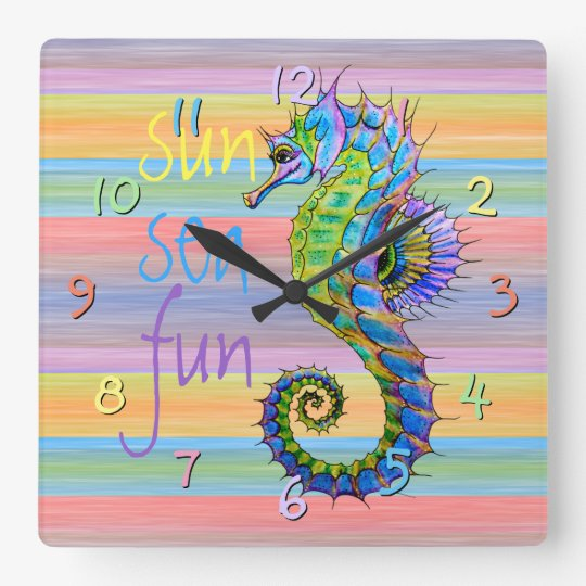Cute Bright Sunset Colours Artsy Seahorse Square Wall