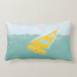 Cute Bright Watercolor Gone  Surfing Lumbar Pillow