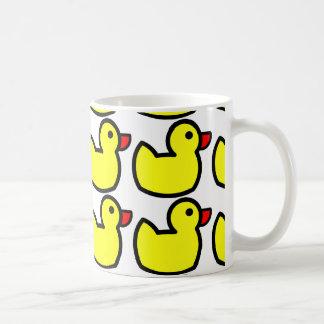 Cute Bright Yellow Rubber Ducky Pattern Basic White Mug