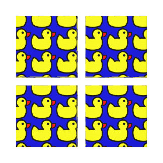 Cute Bright Yellow Rubber Ducky Pattern on Blue Canvas Prints