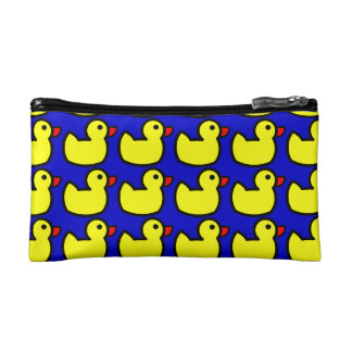 Cute Bright Yellow Rubber Ducky Pattern on Blue Makeup Bag