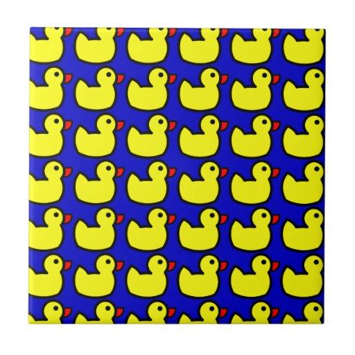 Cute Bright Yellow Rubber Ducky Pattern on Blue Tiles