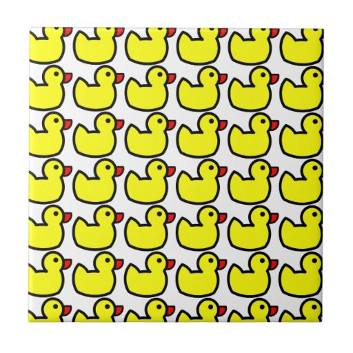 Cute Bright Yellow Rubber Ducky Pattern Tiles