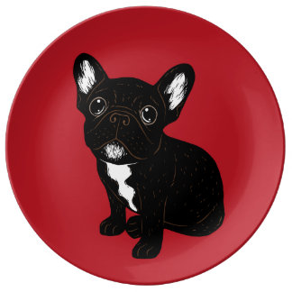 Cute Brindle Frenchie Puppy Plate