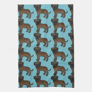 Cute Brindle Old English Mastiff Dogs Pattern Tea Towel