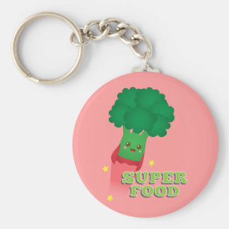 Cute Broccoli Vegetable, Super food Basic Round Button Key Ring