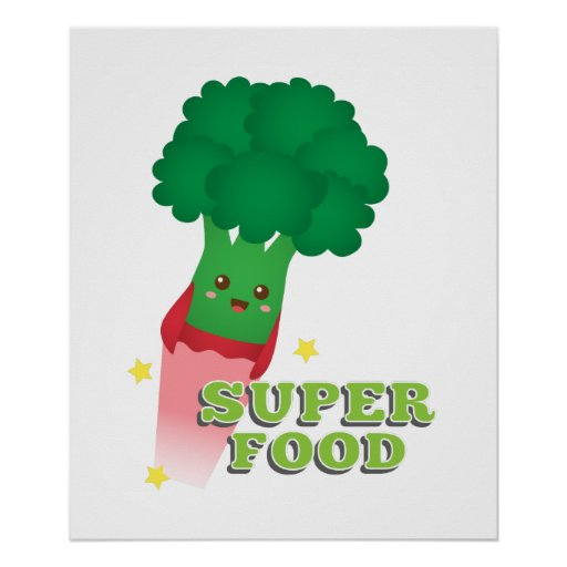 Cute Broccoli Vegetable, Super food Print