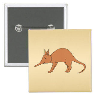 Cute Brown Aardvark 15 Cm Square Badge