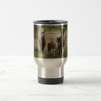 Cute Brown Alpacas In The Zoo Travel Mug
