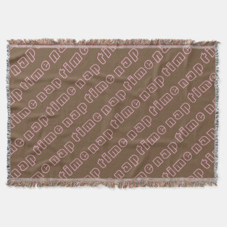 Cute Brown and Pink Nap Time Text Pattern Throw Blanket