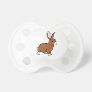 Cute Brown and White Bunny Rabbit Baby Pacifiers