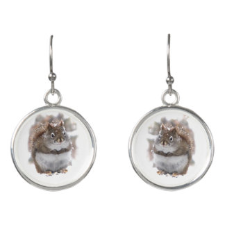 Cute Brown and White Squirrel Animal Drop Earrings