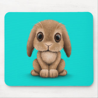 Cute Brown Baby Bunny Rabbit on Blue Mouse Mat