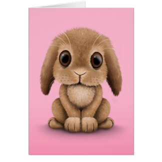 Cute Brown Baby Bunny Rabbit on Pink Card
