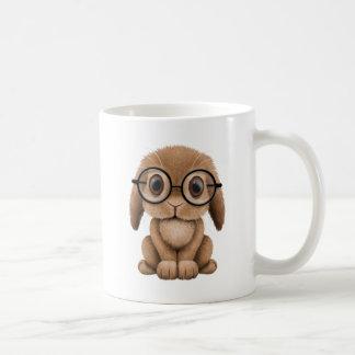 Cute Brown Baby Bunny Wearing Glasses Basic White Mug
