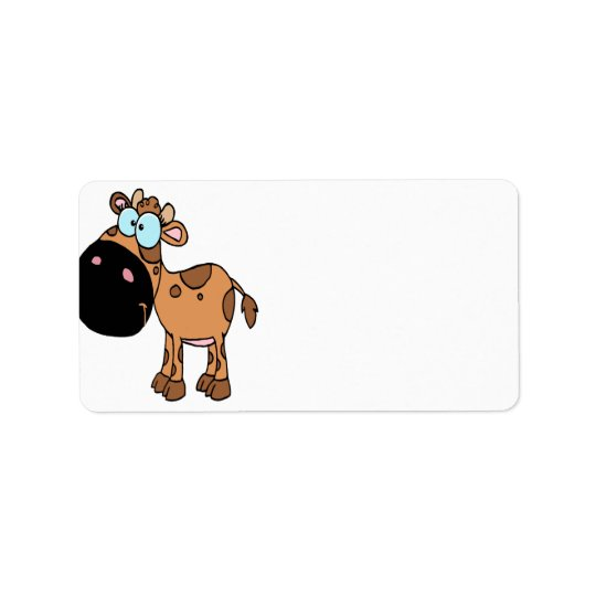 cute brown baby cow calf address label