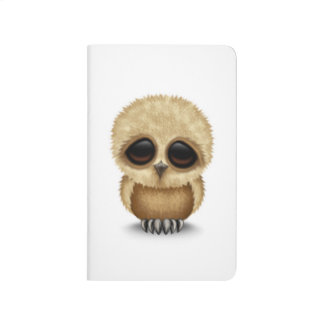 Cute Brown Baby Owl Chic on White Journals