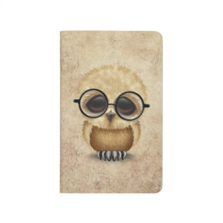 Cute Brown Baby Owl Wearing Glasses Aged Texture Journal