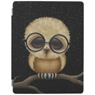 Cute Brown Baby Owl Wearing Glasses with Stars iPad Cover