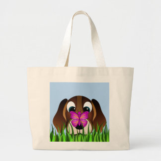 Cute Brown Beagle Puppy Dog and Butterfly Budget Large Tote Bag