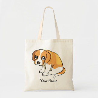 Cute Brown Beagle Puppy Drawing Tote Bag Template