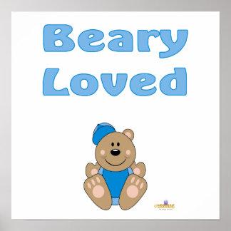 Cute Brown Bear Blue Baseball Cap Beary Loved Print