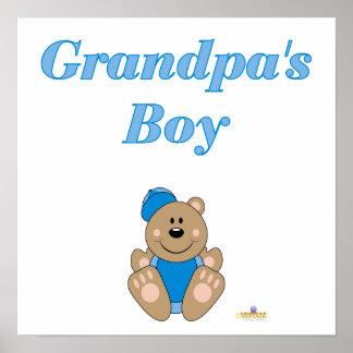 Cute Brown Bear Blue Baseball Cap Grandpa's Boy Poster