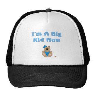 Cute Brown Bear Blue Baseball Cap I'm A Big Kid No Mesh Hat