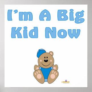 Cute Brown Bear Blue Baseball Cap I'm A Big Kid No Poster