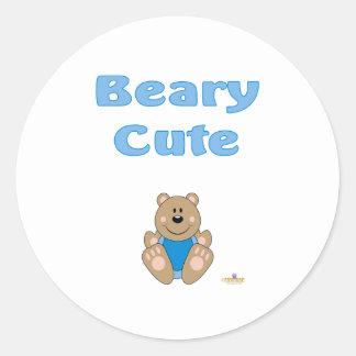 Cute Brown Bear Blue Bib Beary Cute Round Sticker