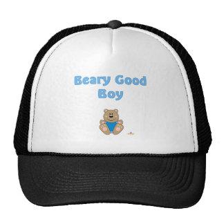 Cute Brown Bear Blue Bib Beary Good Boy Mesh Hat