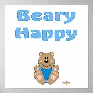 Cute Brown Bear Blue Bib Beary Happy Poster