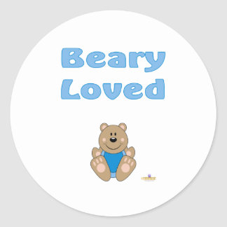 Cute Brown Bear Blue Bib Beary Loved Sticker