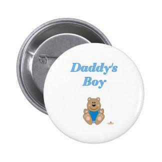 Cute Brown Bear Blue Bib Daddy's Boy 6 Cm Round Badge