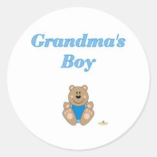 Cute Brown Bear Blue Bib Grandma's Boy Round Sticker