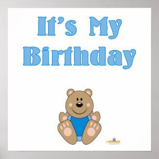 Cute Brown Bear Blue Bib It s My Birthday Posters