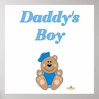 Cute Brown Bear Blue Sailor Hat Daddy's Boy Poster