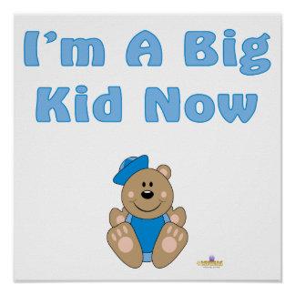 Cute Brown Bear Blue Sailor Hat I'm A Big Kid Now Posters