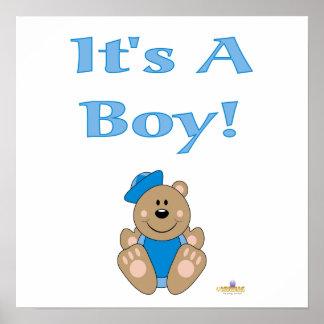 Cute Brown Bear Blue Sailor Hat It's A Boy Posters