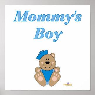 Cute Brown Bear Blue Sailor Hat Mommy's Boy Print