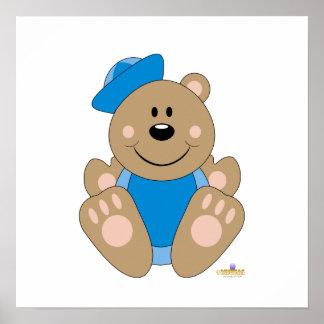 Cute Brown Bear Blue Sailor Hat Print