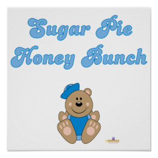 Cute Brown Bear Blue Sailor Hat Sugar Pie Honey Bu Poster