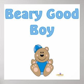 Cute Brown Bear Blue Snow Hat Beary Good Boy Poster