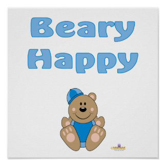 Cute Brown Bear Blue Snow Hat Beary Happy Poster