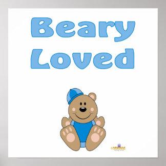 Cute Brown Bear Blue Snow Hat Beary Loved Print