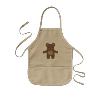Cute Brown Bear Hug Kids Apron