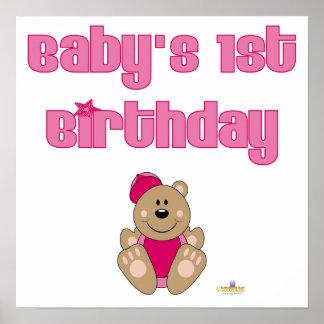 Cute Brown Bear Pink Baseball Cap Baby's 1st Birth Print