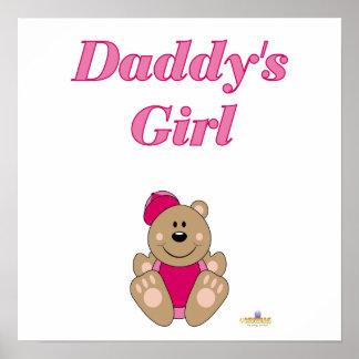 Cute Brown Bear Pink Baseball Cap Daddy's Girl Poster