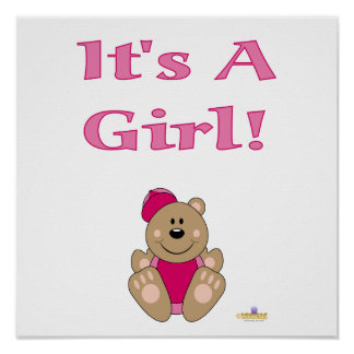 Cute Brown Bear Pink Baseball Cap It's A Girl Print